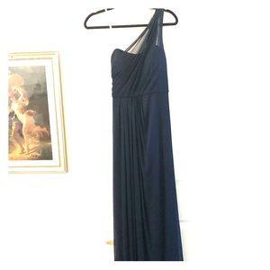 Navy Blue One Shoulder Floor-length Dress